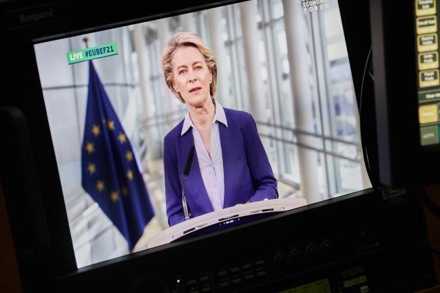 Ursula von der Leyen on the screen